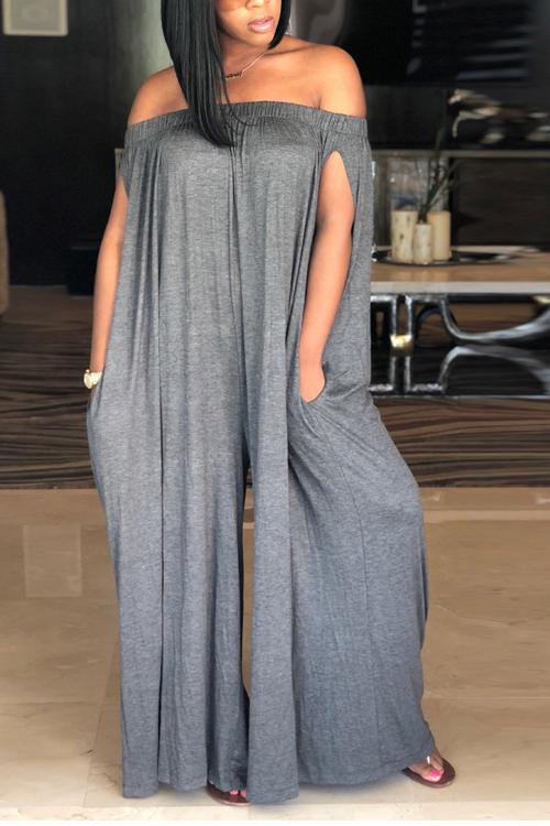 Lovely Casual Dew Shoulder Grey Cotton Blends One-piece Jumpsuit