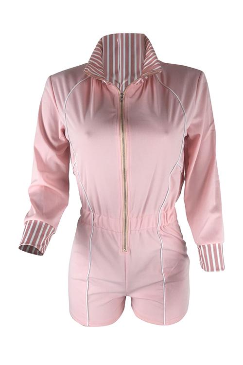 LovelyEuramerican Turndown Collar Patchwork Pink Cotton Blends One-piece Short Jumpsuits
