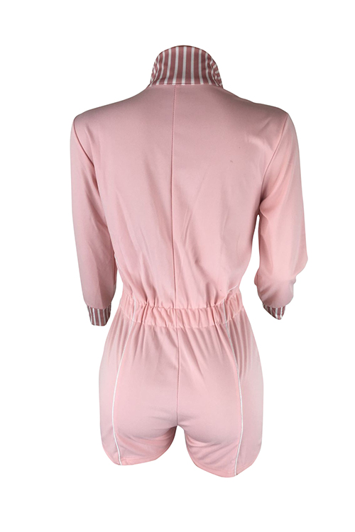 LovelyEuramerican Turndown Collar Patchwork Pink Cotton Blends One-piece Short Jumpsuits