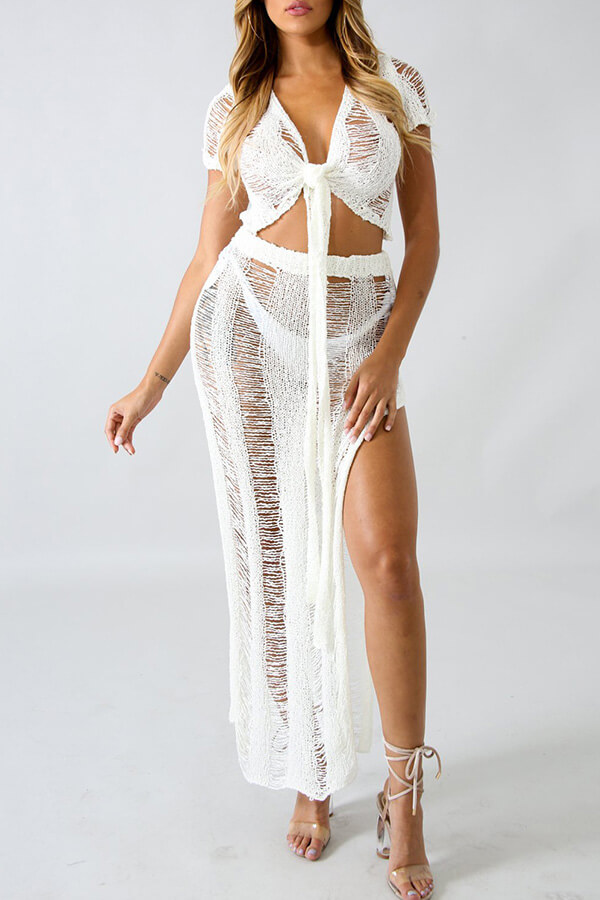 Lovely Chic V Neck Hollow-out White Cotton Cover-up