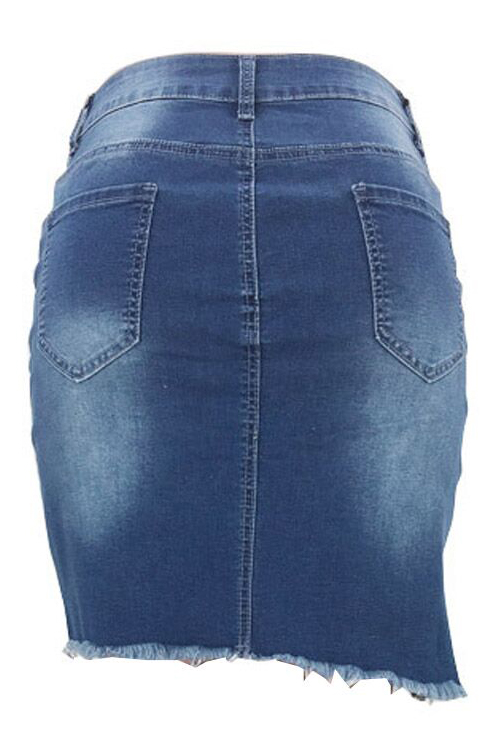 LovelyDenim Solid Sheath Mini Skirts