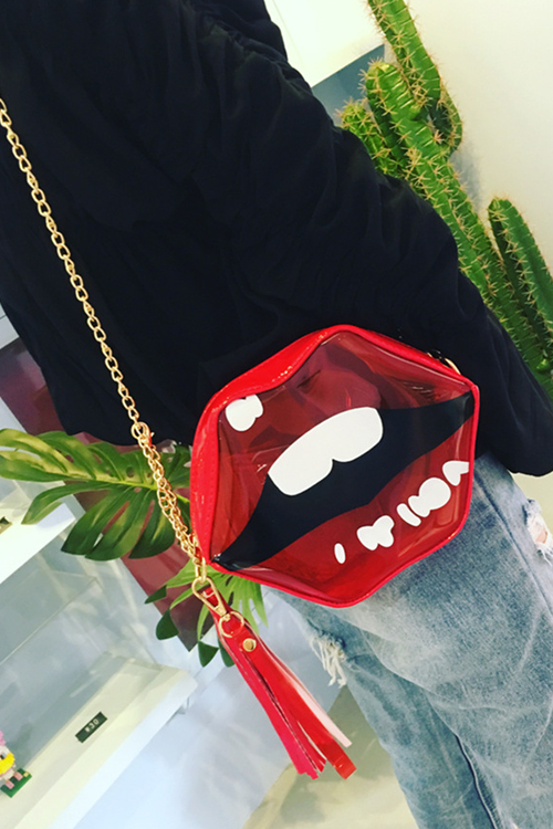 Lovely Fashion Lip Red Plastic Crossbody Bag