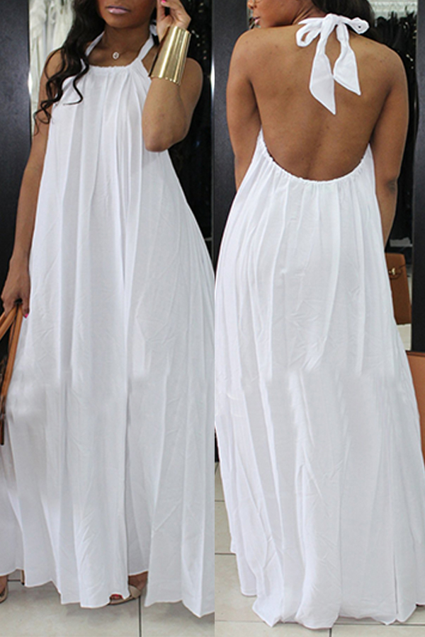 Lovely Fashion Halter Neck Backless White Chiffon Floor Length Dress