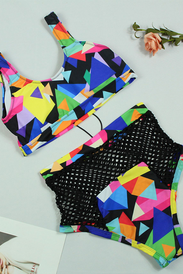 Lovely Chic Lace-up Hollow-out Printing Black Polyester Two-piece Swimwears