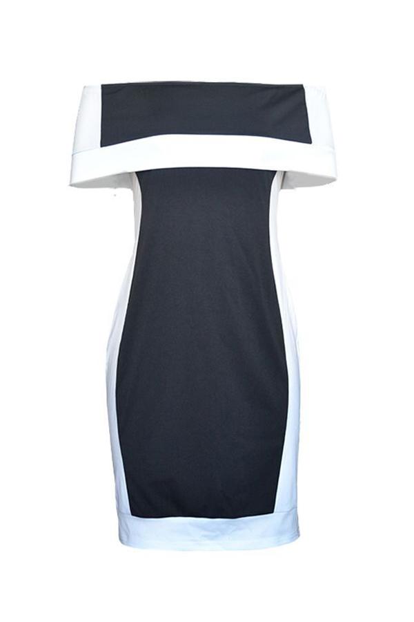 LovelyEuramerican Patchwork Black Polyester Sheath Mini Dress