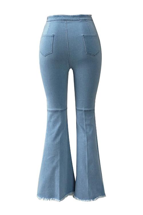 Lovely Trendy High Waist Flared Baby Blue Denim Zipped Jeans