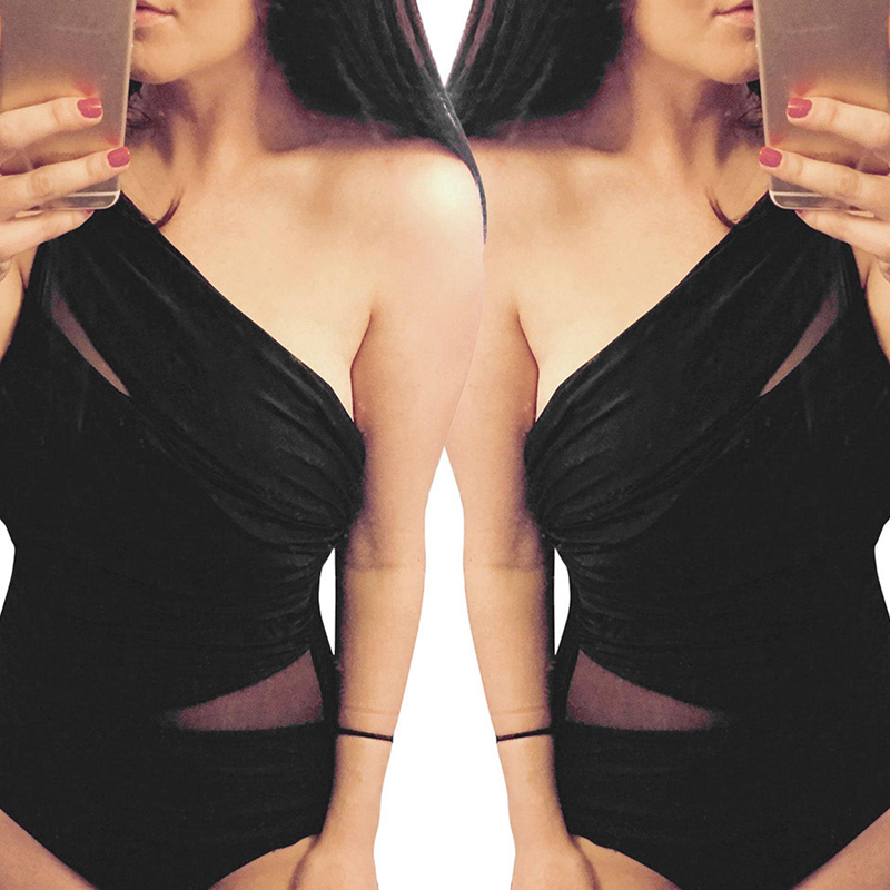 Lovely Black Polyester One-piece Swimwear