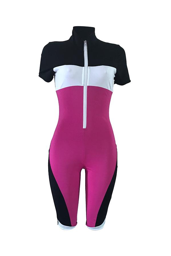 Lovely Sportswear Mandarin Collar Patchwork Purple Polyester One-piece Short Jumpsuits