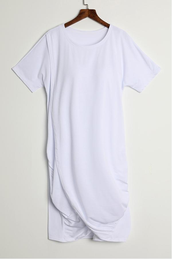 LovelyCasual Round Neck Irregular White Polyester Mini Dress
