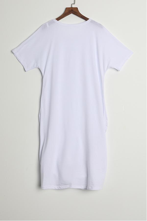 Lovely Casual Round Neck Irregular White Polyester Mini Dress