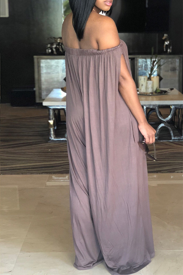 Lovely Casual Dew Shoulder Coffee Cotton Blends One-piece Jumpsuit