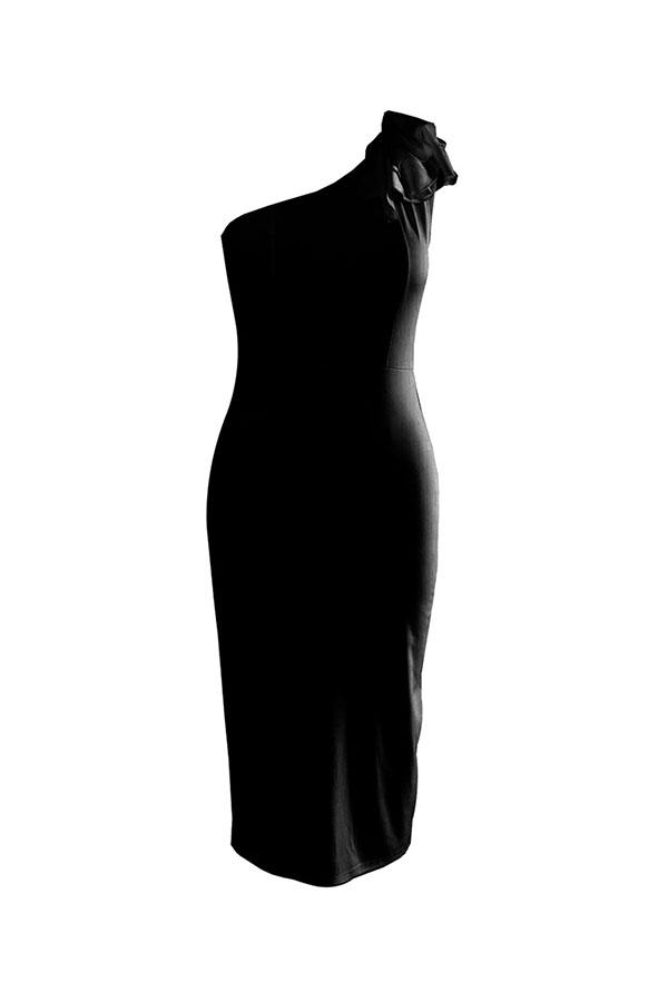 Lovely Formal Show A Shoulder Ruffle Design Black Blending Knee Length Dress