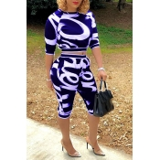 Lovely Casual Round Neck Printing Blue Blending Two-piece Pants Set