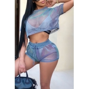 LovelyCasual Round Neck See-Through Blue Polyester Two-piece Shorts Set(Without Subcoating)