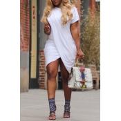 Lovely Casual O neck Cap Sleeve Short Sleeve Straight Mini Dresses
