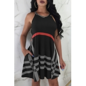 Lovely Fashion Round Neck Striped Black Milk Fiber Knee Length Dress