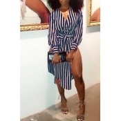 LovelyFashion V Neck Striped Side Slit Blue Cotton Mid Calf Dress(With Belt)