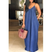 Lovely Lovelywholesale Stylish V Neck Deep Blue Denim Floor Length Dress
