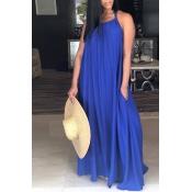 LovelyLeisure Halter Neck Backless BluePolyester Floor Length Dress