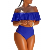LovelyPretty Bateau Neck Flounce Blue Polyester Two-piece Swimwears