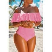Lovely Pretty Bateau Neck Flounce Pink Two-piece S