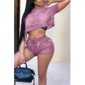 Lovely Casual Round Neck See-Through Pink Polyester Two-piece Shorts Set(Without Subcoating)