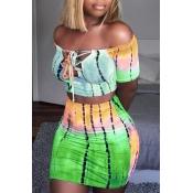 LovelySexy Bateau Neck Printing Green Twilled Satin Two-piece Skirt Set