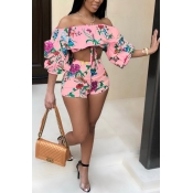 Lovely Bohemian Flounce Printed Pink Polyester Two-piece Shorts Set
