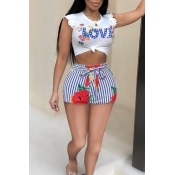 Lovely Casual Round Neck Letter Floral Blue Polyester Two-piece Shorts Set