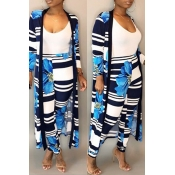 Lovely Trendy Striped Printed Blue Polyester Two-piece Pants Set