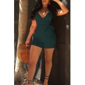 Lovely Sexy V Neck Army Green Polyester One-piece