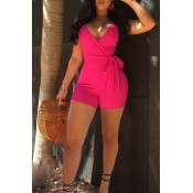 Lovely Sexy V Neck Rose Red Polyester One-piece Sh