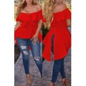 Lovely Street Bateau Neck Flounce Irregular Red Blending Shirts