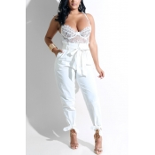 Lovely Fashion High Waist White Polyester Pants