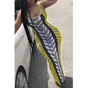 Lovely Stylish U Neck Striped Fold Yellow Milk Fiber Floor Length Dress