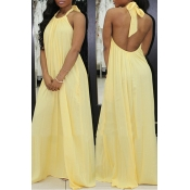 Lovely Fashion Halter Neck Backless Yellow Chiffon Floor Length Dress