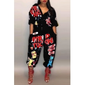 4c2ab2a21a6 Lovely Euramerican Cartoon Printing Black Polyester One-piece Jumpsuits