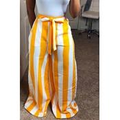 LovelyFashion High Waist Striped Yellow Polyester