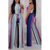 Lovely Fashion Striped Polyester One-piece Jumpsui
