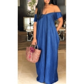 Lovely Casual Bateau Neck Deep Blue Denim Floor Length Dress