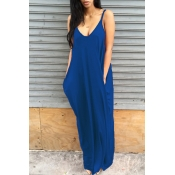 Lovely Leisure V Neck Blue Blending Floor Length Dress