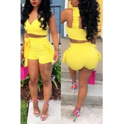 Lovely Sexy Falbala Design Yellow Blending Two-piece Shorts Set