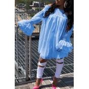 Lovely Trendy Dew Shoulder Falbala Design Light Blue Lace Mini Dress