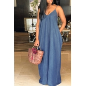 Lovely Fashion V Neck Blue Denim Floor Length Dres