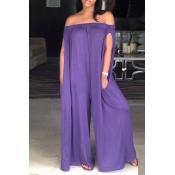 Lovely Casual Dew Shoulder Purple Cotton Blends One-piece Jumpsuit