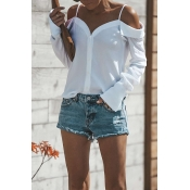 Lovely Casual Dew Shoulder Buttons White Polyester