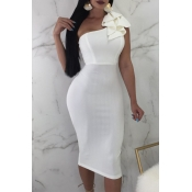 Lovely Formal Show A Shoulder Ruffle Design White