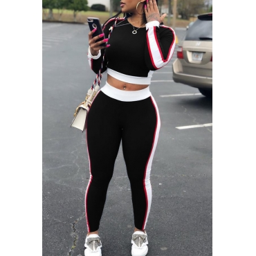 Lovely Leisure Round Neck Patchwork Black  Two-piece Pants Set
