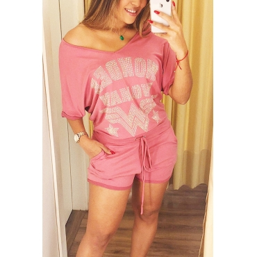 Lovely  Fashion V Neck Hot Drilling Decorative Pink Cotton Blends Two-piece Shorts Set