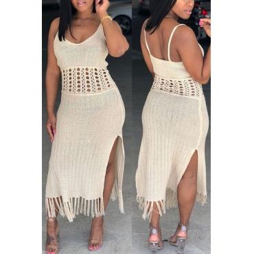 Lovely Cotton Casual V Neck Tank Sleeveless Sheath Ankle Length Dresses